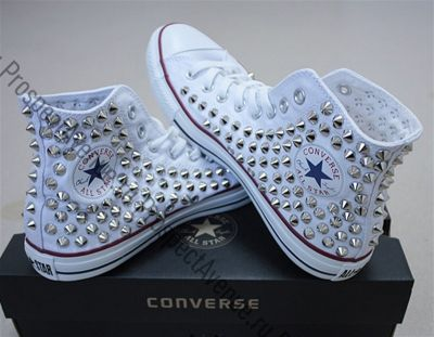 7a44bfc2f01b Высокие кеды Converse «Белые с серебристыми шипами»